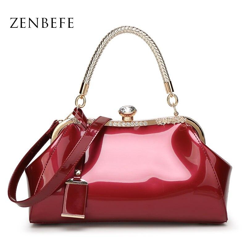 ZENBEFE Drop Shipping Evening Bags Patent Leather Women Handbags Fashion Women'S Shoulder Bags Ladies Clutchs Wedding Party Bags