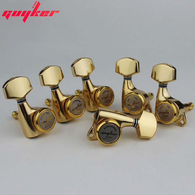 guyker glod guitar locking tuners electric guitar machine heads tuners lock guitar tuning pegs. Black Bedroom Furniture Sets. Home Design Ideas