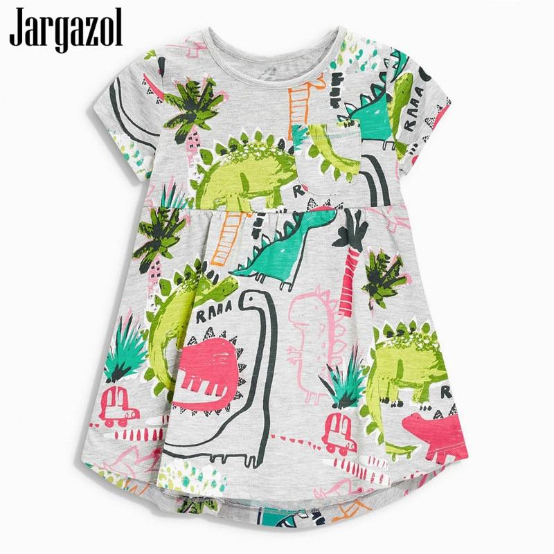 ace2cd22 Jargazol dziewczynek ubierać ubrania dla dzieci Princess Dress 2018 nowy  marka dinozaury drukowanie z krótkim rękawem z krótkim rękawem sukienki ...