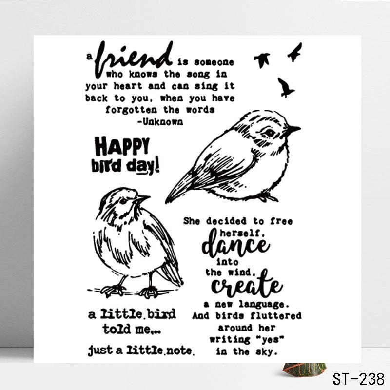 DIY Crafts Photo Album Silicone Rubber Transparent Stamp Scrapbooking Birds