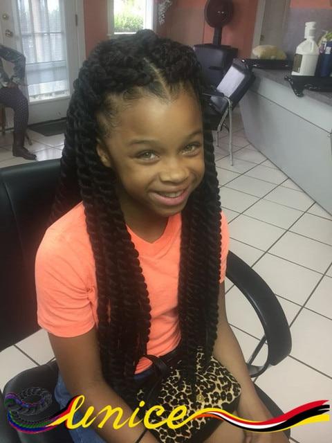 African Hair Braiding Styles Marley Braids 18inches Havana Mambo Twist Crochet Extensions For Kids