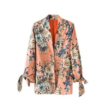 Women Floral Print Blazer Jacket Bow Long Sleeve Notched Collar Pocket Jacket Coat Office Ladies Casual Blazer