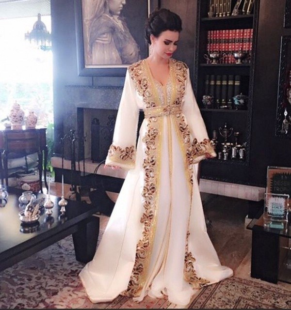 New White Beaded Muslim Long   Evening     Dresses   Luxury Dubai Moroccan Kaftan   Dress   Long Sleeves Formal   dress     Evening   party gown