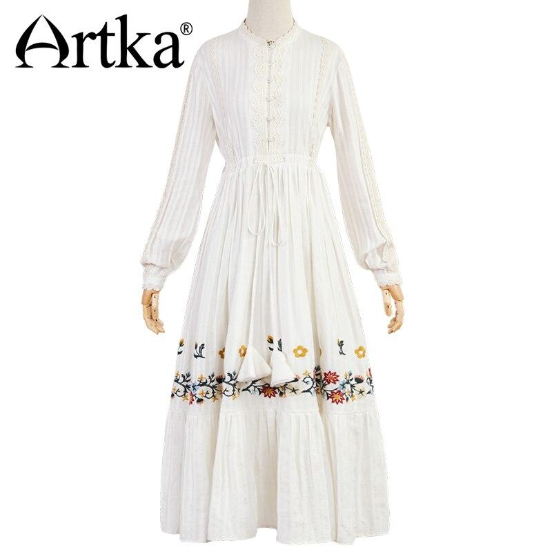 Kadın Giyim'ten Elbiseler'de ARTKA Sonbahar Kış Yeni Vintage Elbise Çin Tarzı Nakış Göğüs Şerit Uzun Gömlek Elbise Tam Kollu Elbiseler LA10373Q'da  Grup 3