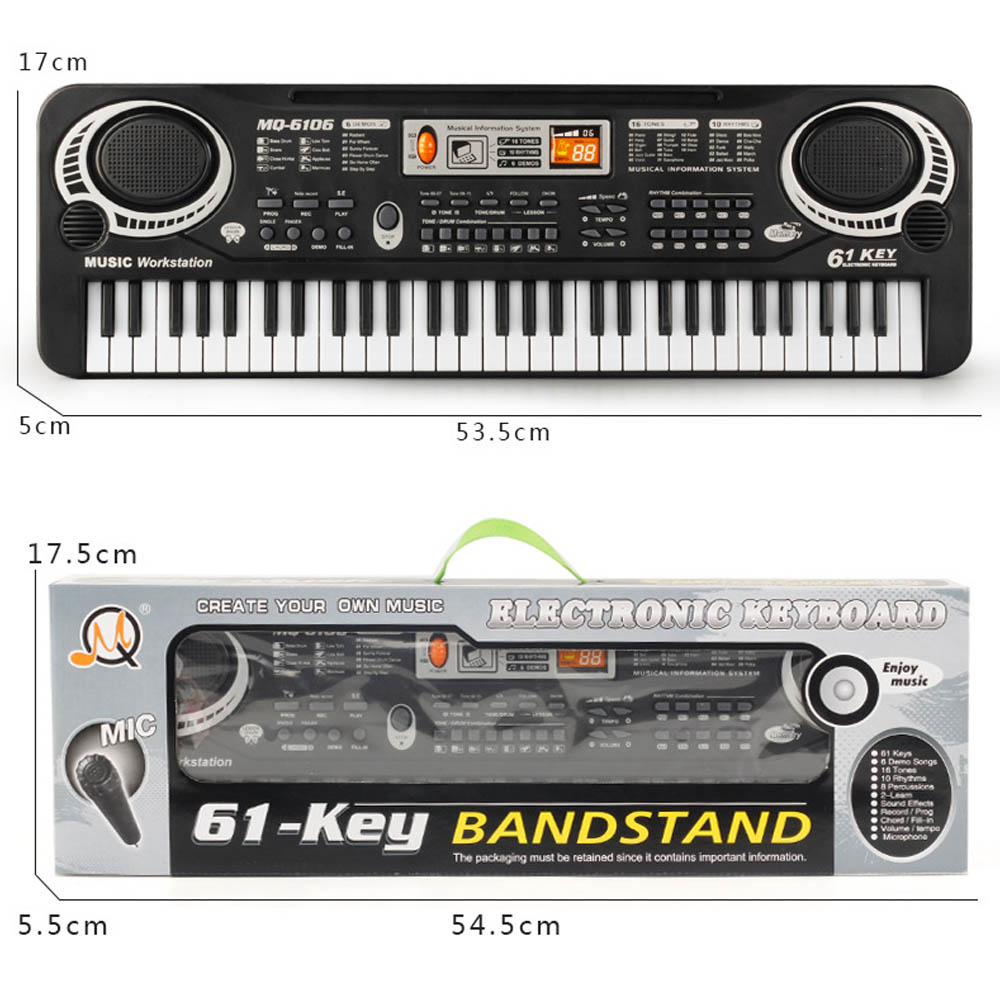 61-key Electronic Piano Keyboard Toy With Microphone Children Early Education Music Toy Musical Instrument Teaching Aid