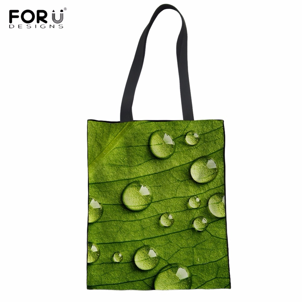 FORUDESIGNS Fashion Green Leaf Print Cotton Shopping Tote Bags Harajuku Style Woman Grocery Bag Large Eco Shopper Bags Foldable ...