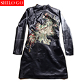 Fashion women high quality Sheep skin Mandarin collar vintage luxury Sequins beading peacock Long-sleeved genuine leather dress