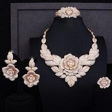 """GODKI 86 מ""""מ רוז פרח עלים נשים כלה יוקרה מעוקב Zirconia טבעת צמיד שרשרת עגיל תכשיטי סט תכשיטי דובאי מכור"""