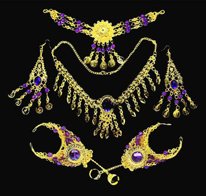 Image 4 - 2016 6 pcs/set Wholesale Indian belly dance wear belly dancing accessories necklace jewelry set for women