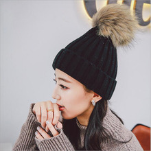 BINGYUANHAOXUAN Fashion Simulation Hair Ball Winter Hats For Women Girls Knitted hat Skulls Caps Parent-child