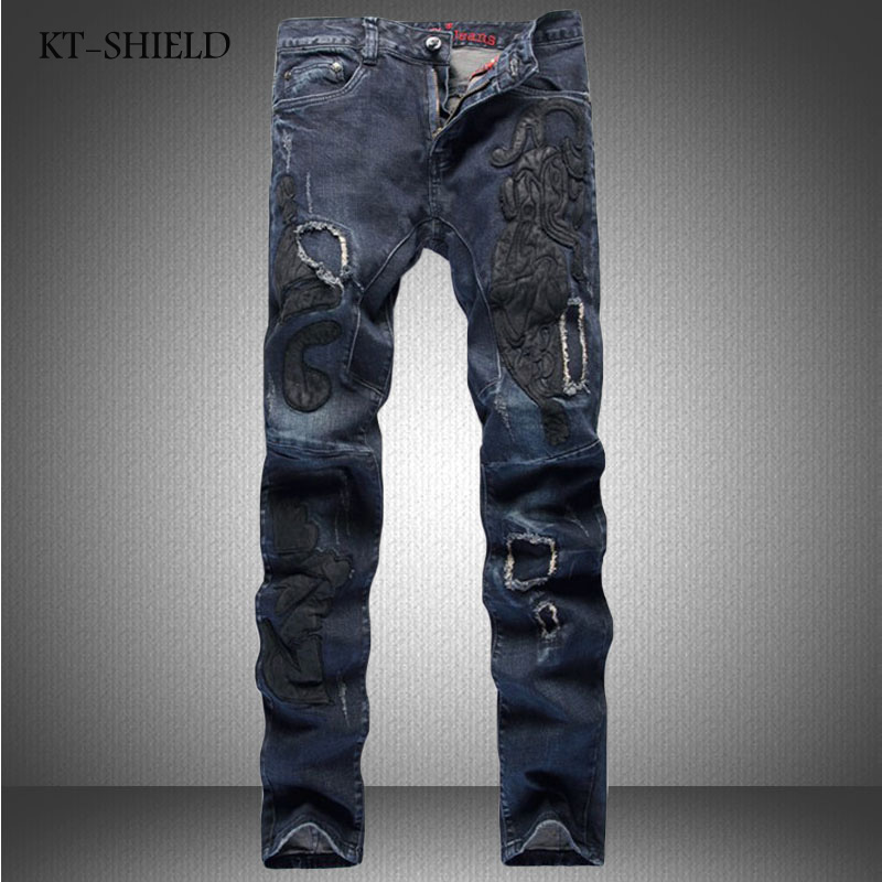 Printed jeans Men Fashion design vaqueros hombre hip hop casual full length Cotton Masculina Pantalones skinny Denim Distressed black jeans men biker ripped hip hop casual man denim pants trousers slim fashion full length cotton masculina pantalones hombre