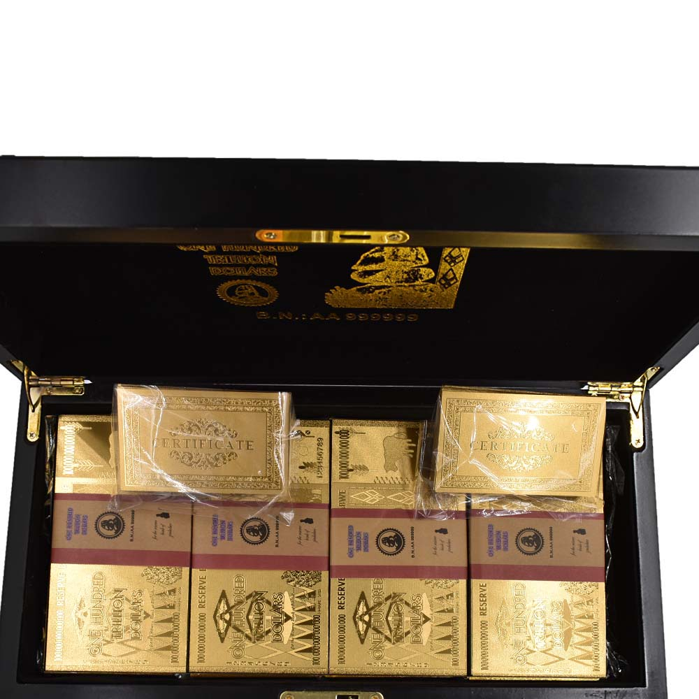 //JUST A BOX ONE Zimbabwe Wooden Box For Gold Plated Notes Box without Banknotes