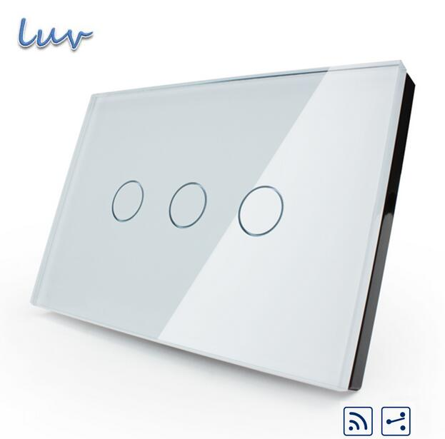 Manufacturer, smart switch,US/AU standard,VL-C303SR-81,3-gang 2-way Remote Touch Light Switch, Crystal Glass Panel,LED indicator manufacturer smart home white crystal glass panel us au wall light touch switch 2 gang 1 way power 110 250v with led indicator