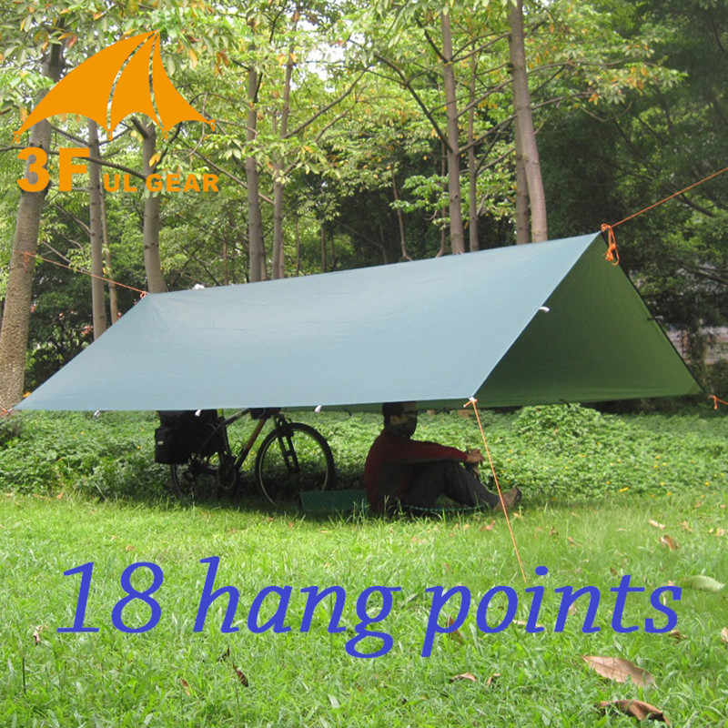 3F UL เกียร์ Ultralight Tarp กลางแจ้ง Camping Survival Sun Shelter เต็นท์ Shade กันสาดเคลือบสีเงิน Pergola เต็นท์กันน้ำ