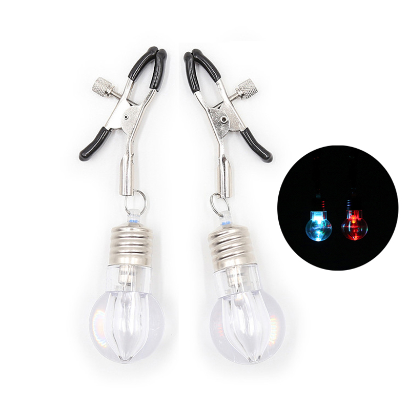 Colorful Light Bulb Nipple Clamps Breast Clips Adult Games for Couples Flirting Forepaly Sex Bondage Harness Breast Massage Toys