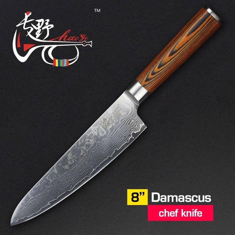 HAOYE 8 pouces Chef couteau Japonais vg10 sharp Damas en acier cuisine poissons susi couteaux filet couperet bois poignée samura trancheuse