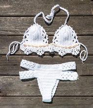 New Fresh Women Sexy Crochet Knitted Bandage Bikini Set Push-up Bra Swimsuit Bathing 2pcs Set Swimwear