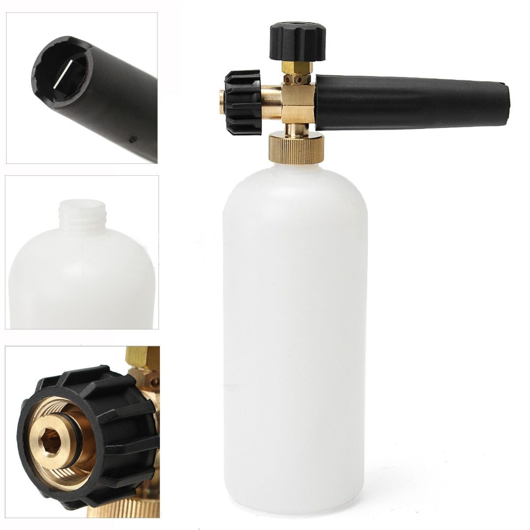 1pc New Pressure Washer Snow Foam Lance + Transparent Hose with 1L Plastic Car Soap Bottle For Karcher HDS & HD M22F