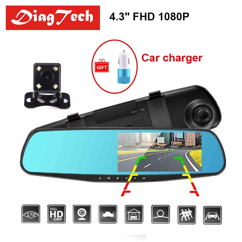 Gryan 4,3 ''Auto Rückspiegel Auto Dvr Kamera HD 1080 P Rückansicht Spiegel Digital Video Recorder Dual Objektiv auto Dash Cam