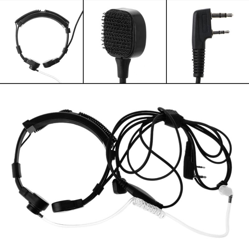 OOTDTY 2-Pin PTT Throat Microphone Earpiece Mic For Baofeng UV5R Radio for Walkie Talkie