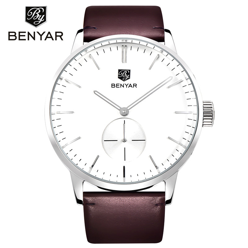 2019 Top Luxury Brand Benyar Men Sports Watches Men's Quartz Clock Man Leather Army Military Wrist Watch Relogio Masculino