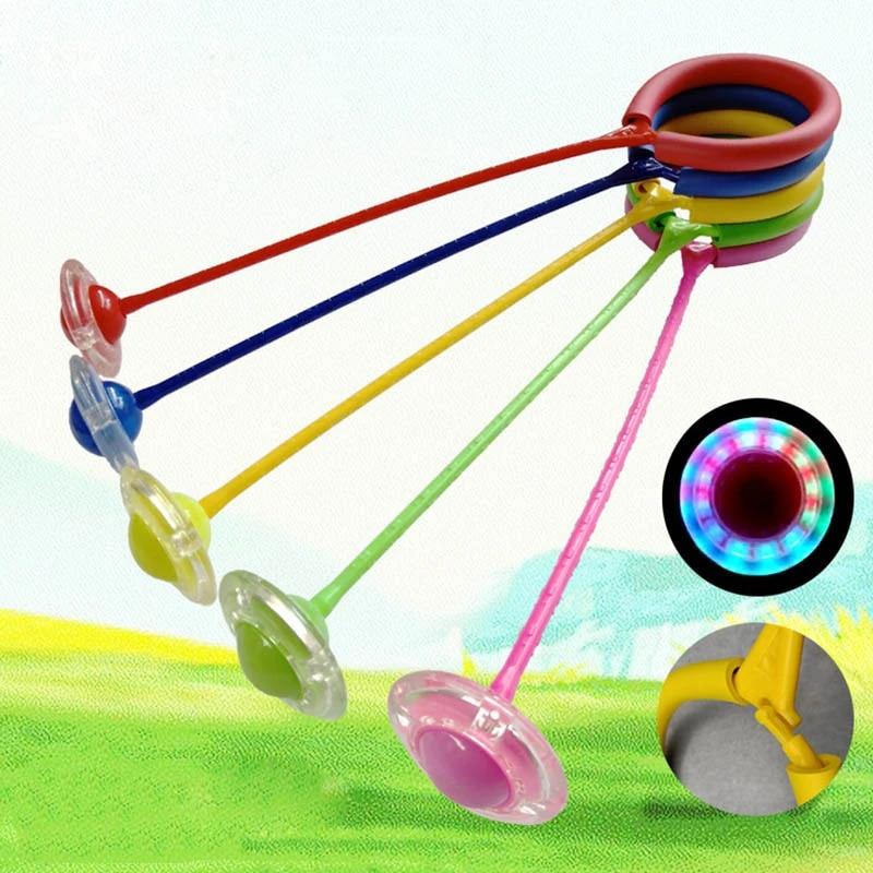 LED Flashing Jumping Ring Ankle Skip Rope Swing Ball Kinder Fitness Springseile