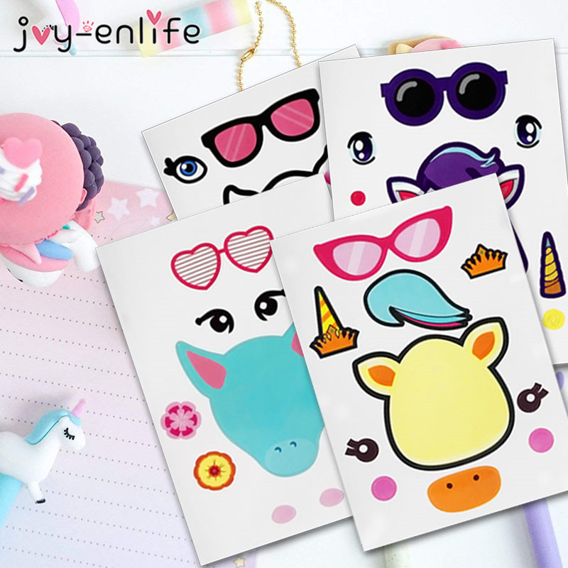 JOY ENLIFE 4pcs DIY Unicorn Party Favors Make A Stickers Kids Birthday Gifts Creative Craft Project
