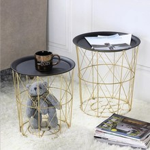 Nordic Style Gold Storage Basket Wrought Iron Kitchen Clear Up Laundry With Handle Small Coffee Table Function