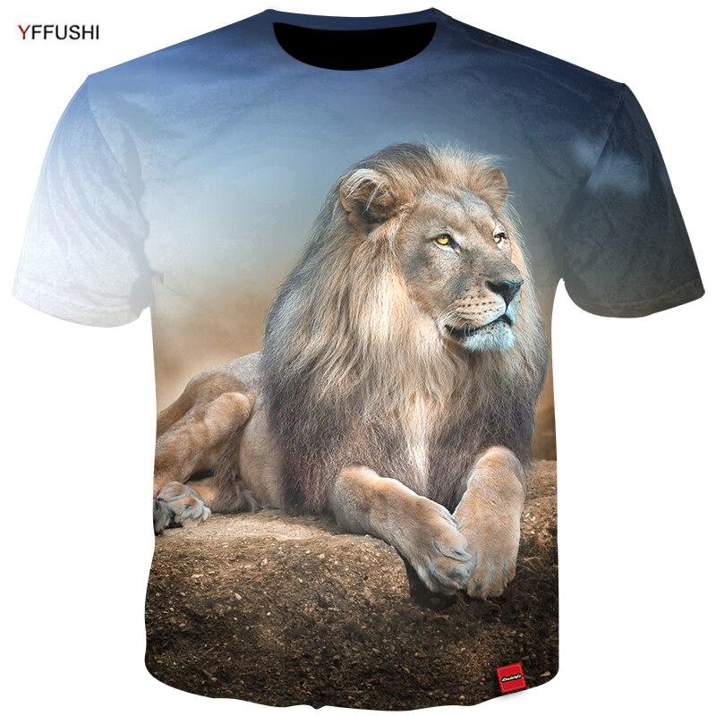 Yffushi marca de alta qualidade masculino 3d topos moda série animal leão impressão 3d verão dos homens camiseta hip hop masculino camisetas plus size 5xl