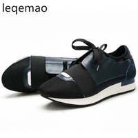 New Spring Autumn Fashion Women Sneakers Flats High Quality Basic Comfortable Genuine Leather Woman Casual Lace Up Black Shoes
