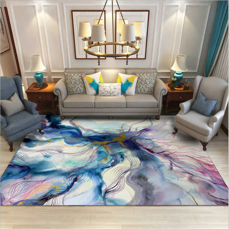 AOVOLL Carpets For Living Room Nordic Abstract Art Colorful Ink Blue Purple  Gold Carpet Christmas Rug Bedroom Rug Anti-slip Mats
