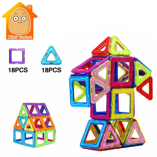 Juguete 36 UNIDS Minitudou Niños Juguetes De Plástico Educativos Juguetes Robot Avión Kit Miniatura Modelos de Ladrillos Bloques de Construcción Magnética