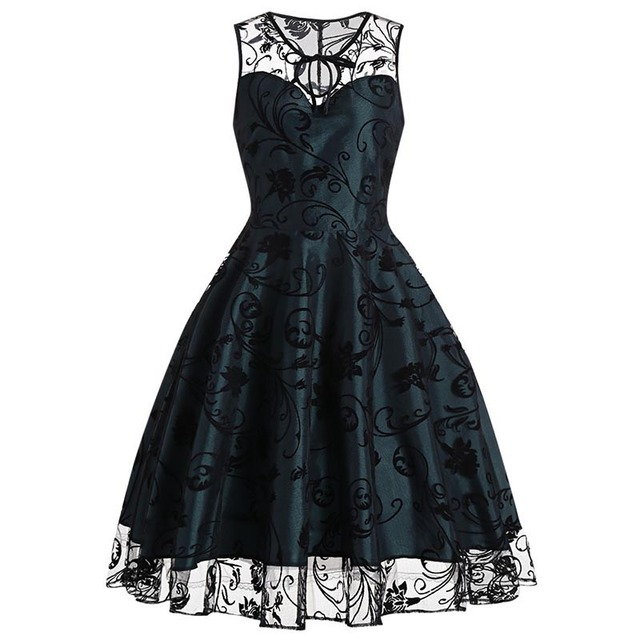 Sisjuly 2018 Summer Gothic Female Party Dress Goth Red Sexy Dresses Hollow Out A Line Green Dress Summer Strapless Retro Dresses 2