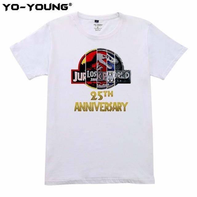 c3f3da762 Yo-Young Men camisetas Jurassic Park 25 Aniversário Projeto Impressão  Digital 100% Algodão Verão