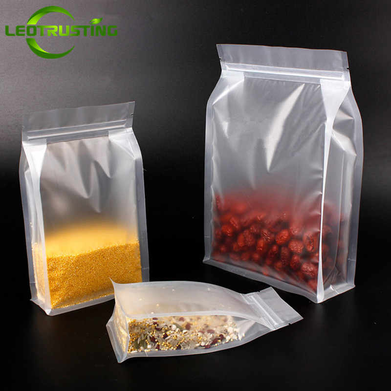 Leotrusting 50pcs 3D Stand up Matt Plastic Ziplock Bag Frosted Translucent Coffee Snack Cookie Rice Package Bag Plastic Gift Bag
