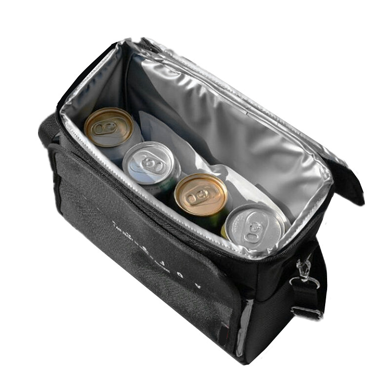 Black Drink Cooler Bags Portable Travel Picnic Lunch Food Thermal Insulation Handbag BBQ Fresh Case Pack Accessories Supplies