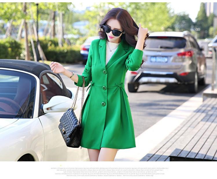 Super Pretty  Elegant Trench Coat Women Windbreaker Ladies Peplum Jacket Pink Grey Green Manteau Femme Silm Long Blazers ddd