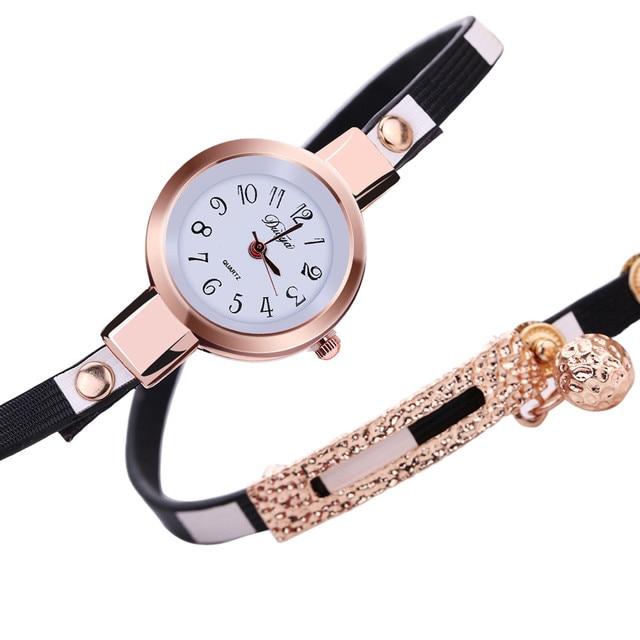 Hot Sale Fashion Women Charm Wrap Around Leather Quartz Wrist Watch Bracelet Wat