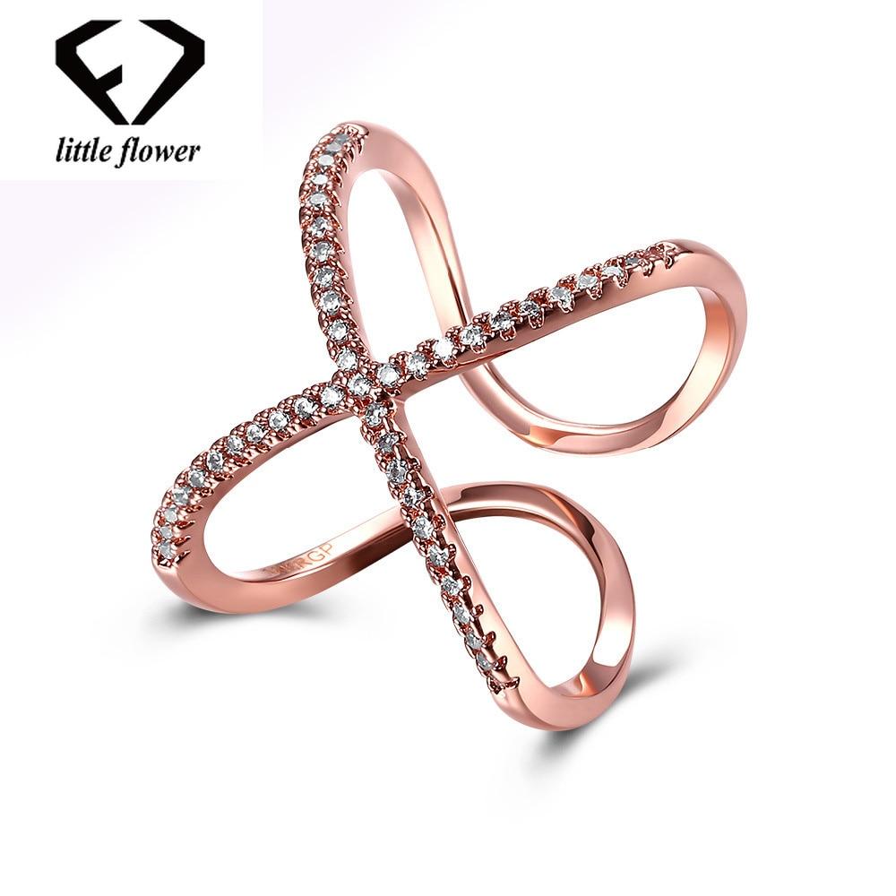 14 K Rose Gold Diamant Zweireihig Offene Ringe für Frauen Edlen Schmuck Finger bague etoile mini anillos de bizuteria diamante ring