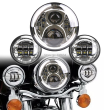 1 Set Chrome 7 inch LED Headlight and 4.5 inch Fog lights Kit For 2001-2014 Harley Davidson Heritage Softail