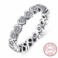 8e45879478fb Auténtica Plata de Ley 925 anillo de Pandora para siempre más amor corazón  con anillos de cristal para mujeres regalo de fiesta .