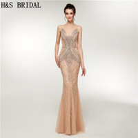 H&S Bridal 2018 Fall arrival luxury beading evening gowns long elegant illusion woman party prom dresses evening Robe De Soiree