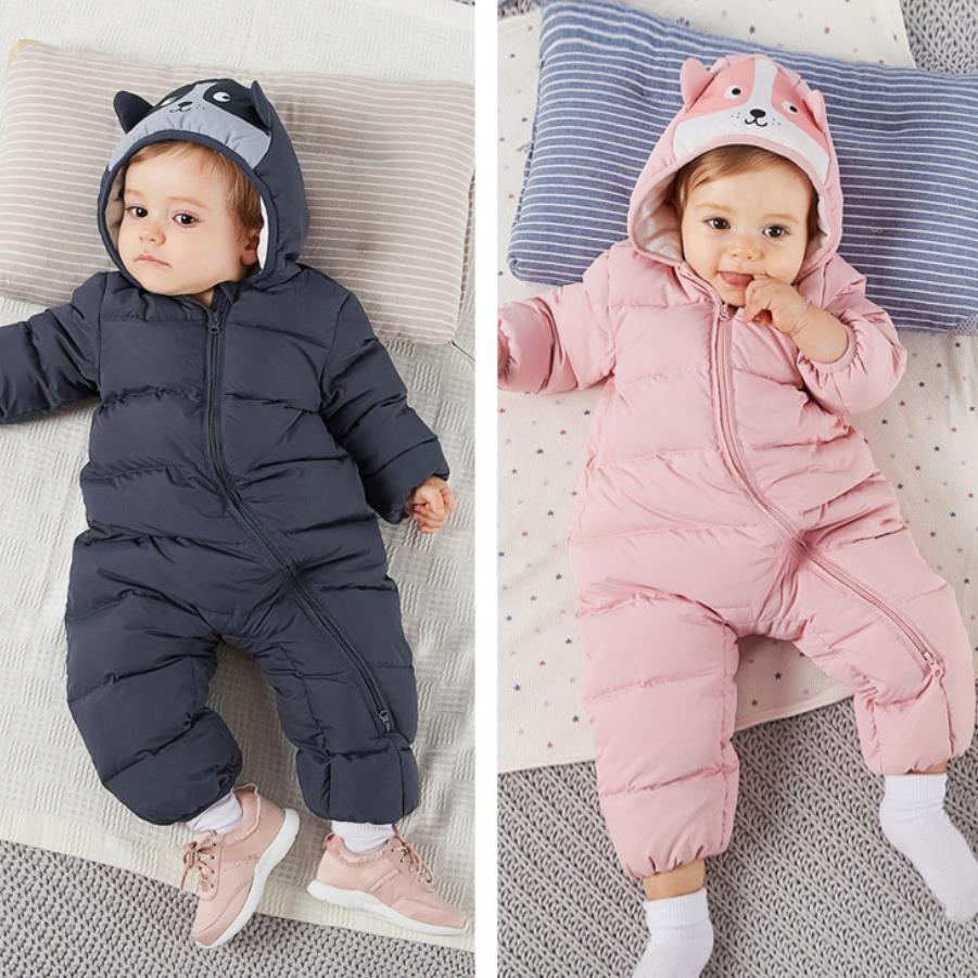 Kind-Hearted New Children Down Rompers Out Clothing Winter Ski Clothes Cute Cartoon Hooded Down Jackets Good Quality Baby Clothes Ws01 Mother & Kids Bodysuits & One-pieces
