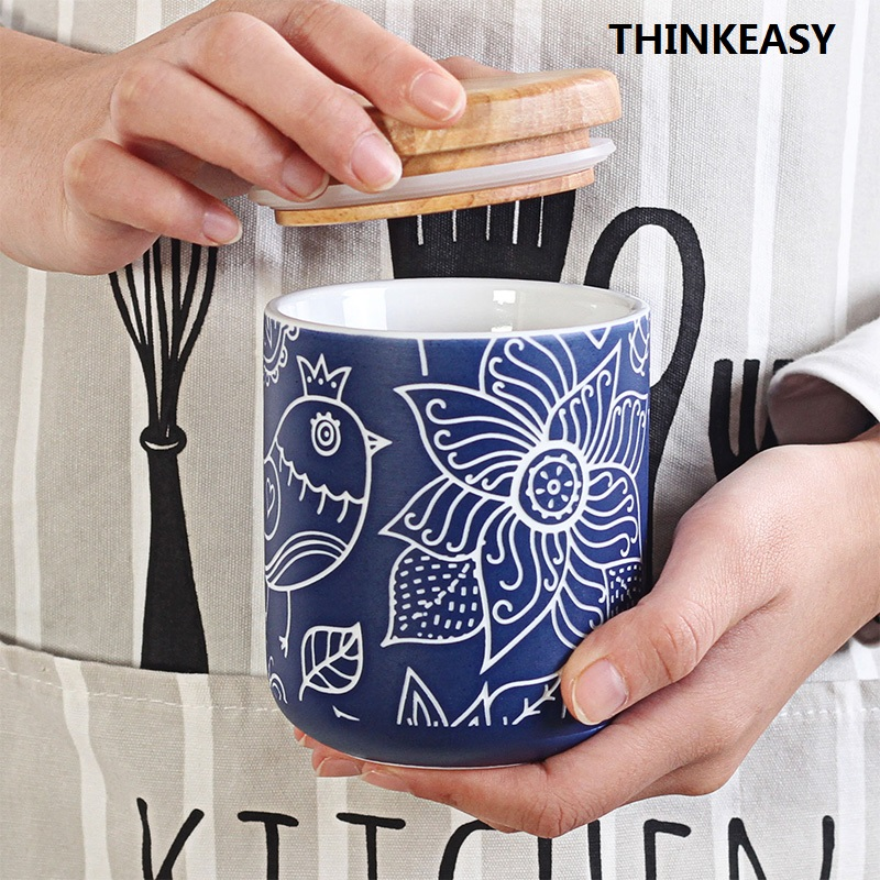 470ml Creative Ceramic Mug with Cover Special Slotted Cup Storage Saver Mug Home Office Fancy Gift for Tea Drinker