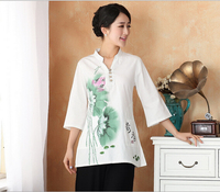Vintage 2014 Summer Linen Chinese Tradition Women S Top Blouse Shirt Size S M L XL