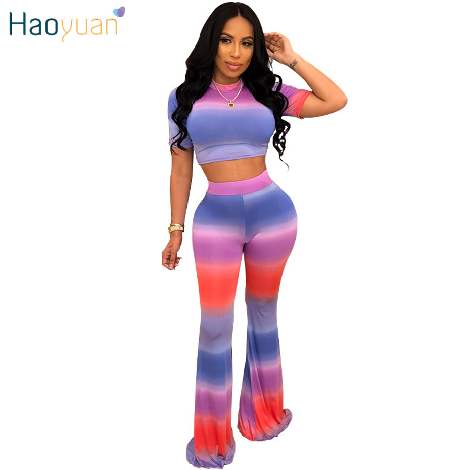 HAOYUAN Tie Dye Two Piece Set Crop Top And Wide Leg Pant Sweat Suit Sexy Matching Sets 2Piece Summer Outfits For Women Tracksuit