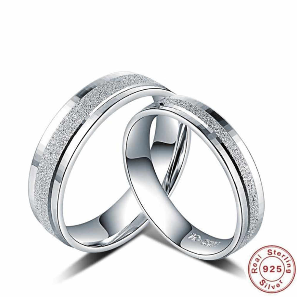 1c365ac5f2ddd0 YKNRBPH S925 Sterling Silver Ring Men's and Women's with Simple Sky Grind  Lover Engagement Jewelry Rings