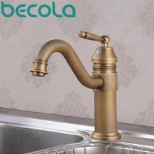 Бесплатная Доставка becola старинной кухне кран латунь щеткой раковина горячая и холодная вода смеситель GZ-8020