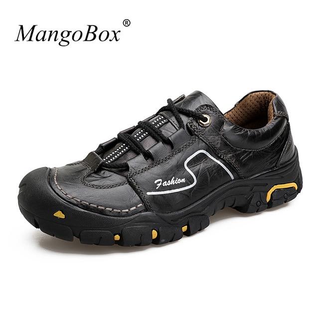 New Sneakers Genuine Leather Men Luxury Brown Khaki Trekking Shoes For Men  Brand Mens Walking Shoe