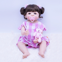 55cm reborn silicone baby dolls alive brown Micro volume hair girl with 1pcs mini pink bear plush toy gift for child Bebes rebor